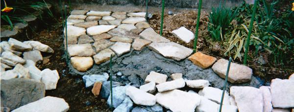 丹波石による延段(園路)作業